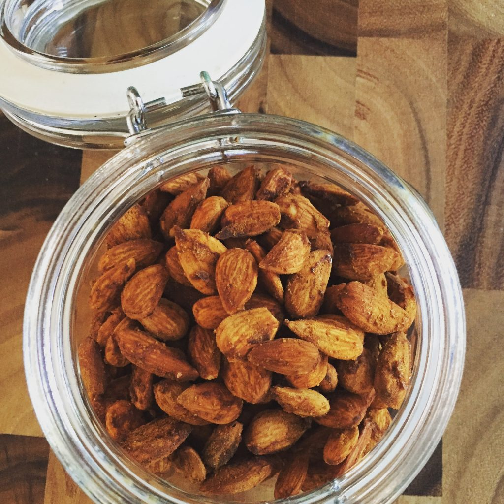 Spicy almonds fresh from the Froothie Dehydrator
