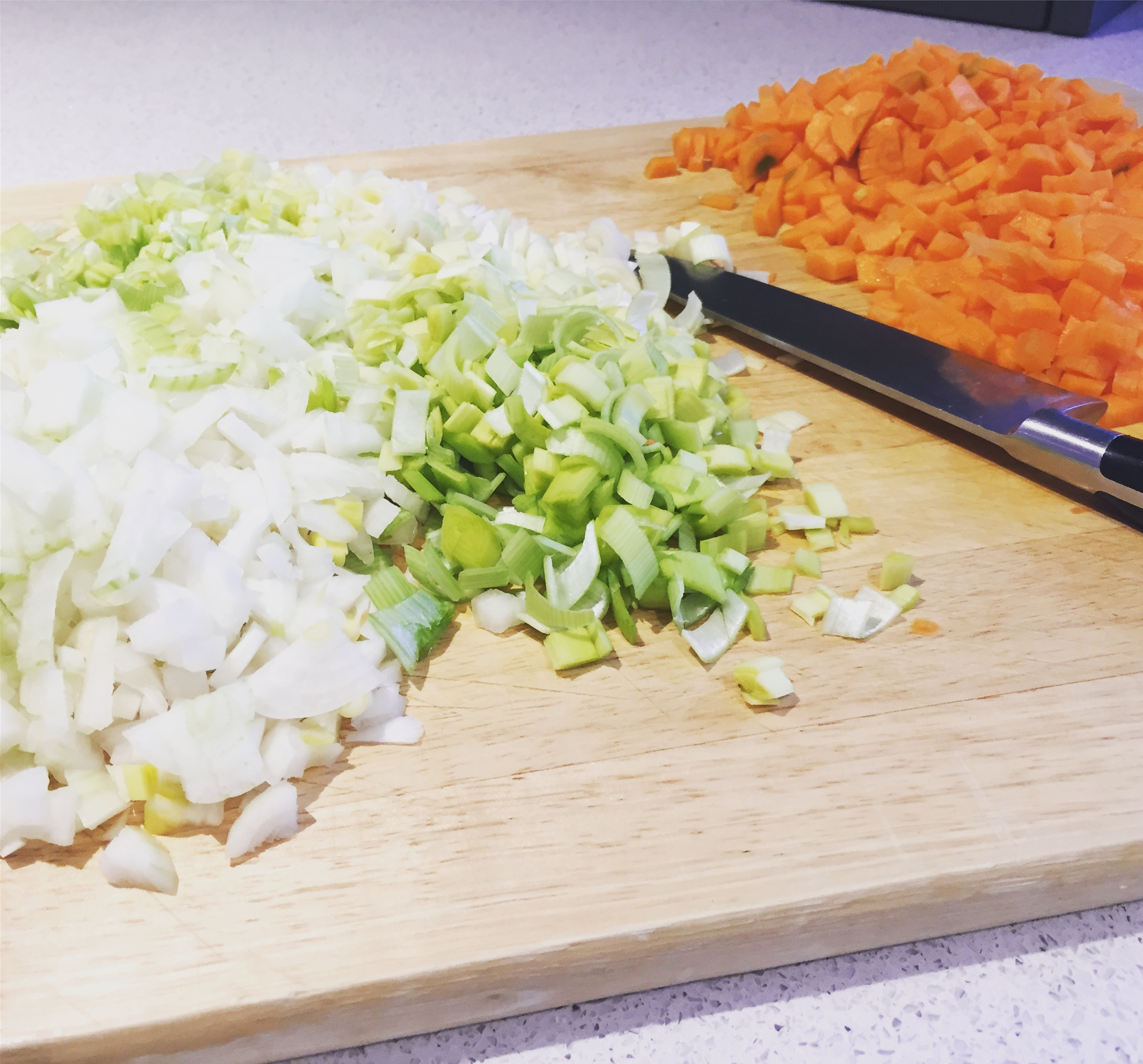 Chopped veggies for chicken soup